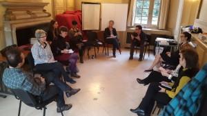 Дел од дискусијата во рамки на работилницата за човекови права.